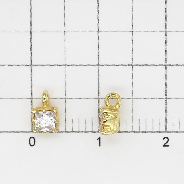 0010795SVC SV925製チャーム スクエア ゴールド 6.0×4.0×3.0mm 1ヶ
