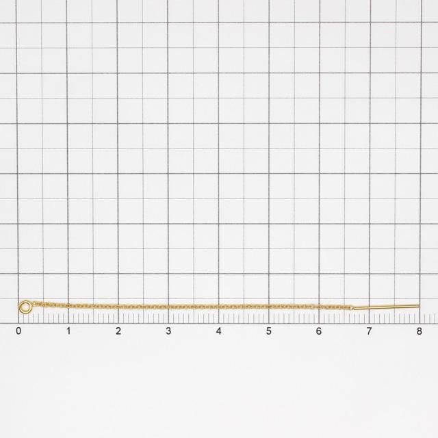 02C0016GFE 14KGF製アメリカンピアス あずきチェーン 全長8.0cm,ポスト14mm線径0.66mm 1ペア