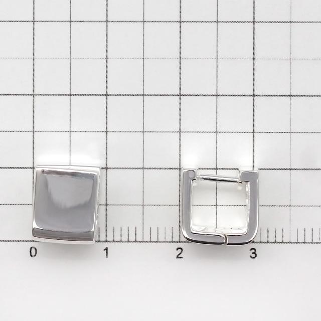 40C0021SVE SV925製ピアス スクエア 10.5×10.5mm厚9.0mmポスト線径1.0mm 1ペア