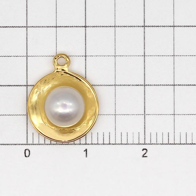 40C0023SVC SV925・淡水パール製チャーム ラウンド ゴールド 15.3×12.0×5.5mm 1ヶ
