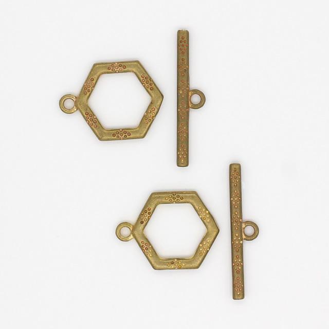 2210651BRP 真鍮製マンテル ヘキサゴン 生地 リング12.0×16.0×1.5mmバー21.0×4.5×1.5mm 2セット