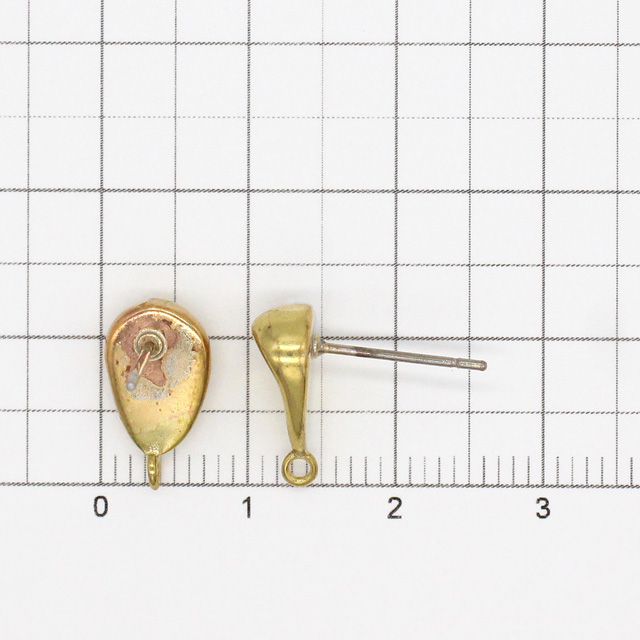 2210652BRE 真鍮製(ポスト:ステンレス製)ピアス 変形逆ドロップ カン付 生地 13.0×7.0×16.0mmポスト線径0.7mm 2ペア