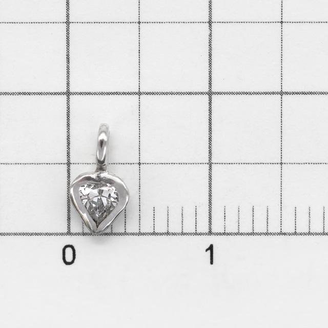 0010796SVC SV925製チャーム ハート ロジウム 7.5×4.5×2.0mm 1ヶ
