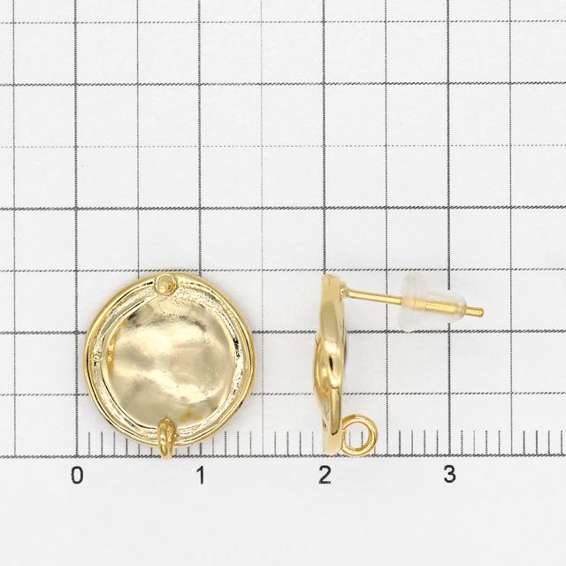 GPP-1320 真鍮製(ポスト:ステンレス製)ピアス ナイロンキャッチ付 変形ラウンド カン付  ゴールド 14.0×14.0×13.5mmポスト線径0.7mm 1ペア