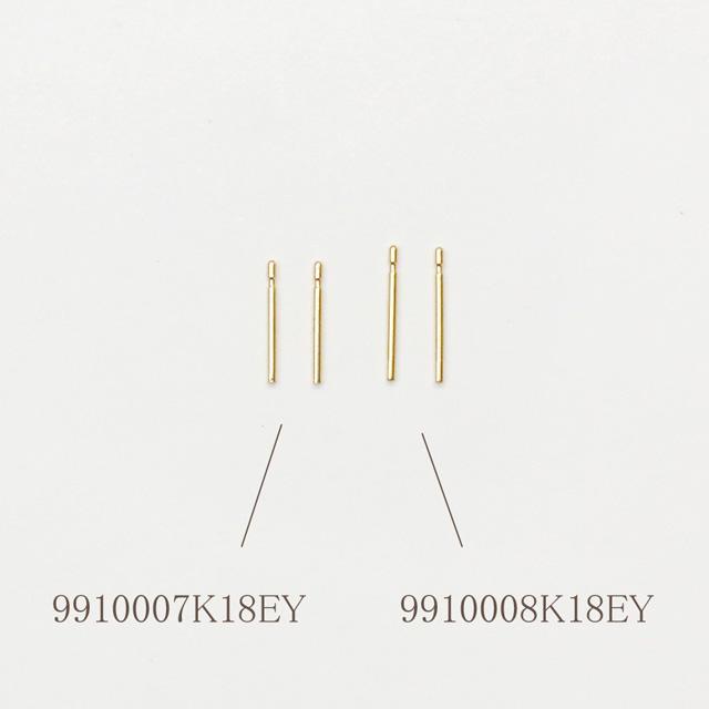 9910007K18EY K18製ピアスポスト ツキサシ YG 9.0mm線径0.65mm 1ペア