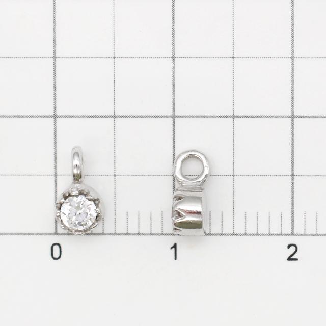 0010790SVC SV925製チャーム ラウンド ロジウム 7.5×4.0×3.0mm