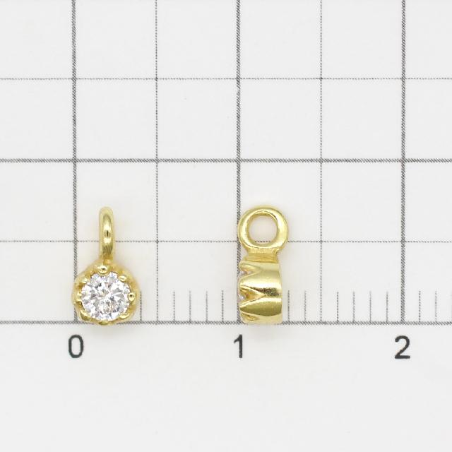 0010791SVC SV925製チャーム ラウンド ゴールド 7.5×4.0×3.0mm