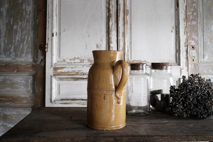 フランス19世紀 南仏の陶器 ポタリージャグ 4153