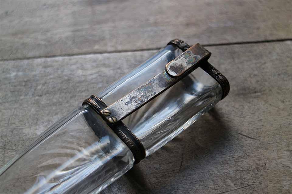フランス カットガラス ハンギングフラワーベース 4280