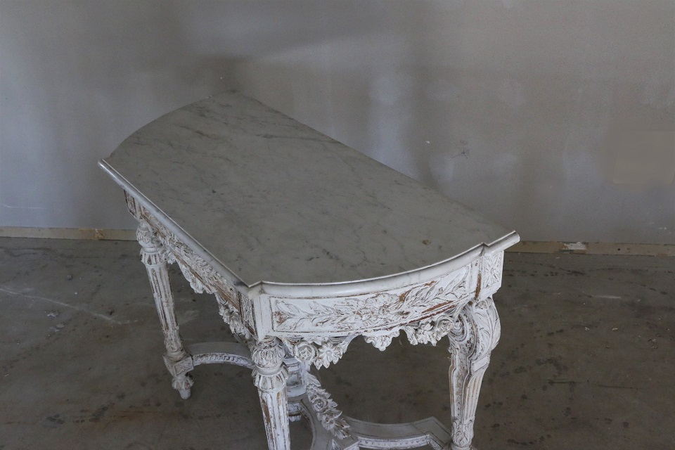 ルイ16世様式 彫刻が美しい 大理石天板のペインテッドコンソールテーブル 4062