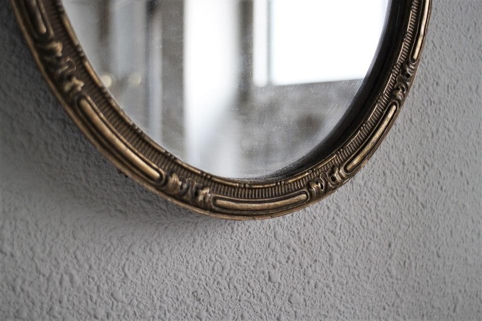 フランス ゴールドペインテッド オーバルミラー 3088