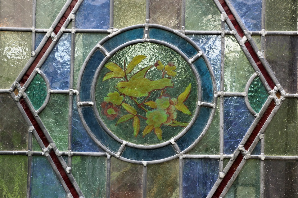 鳥の絵がハンドペイントされた美しいステンドガラスドア 353