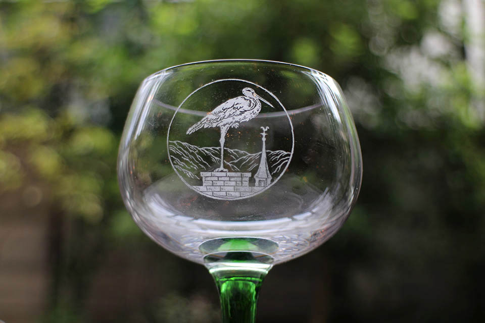 サンルイ グリーンロングステム ワイングラス 2941