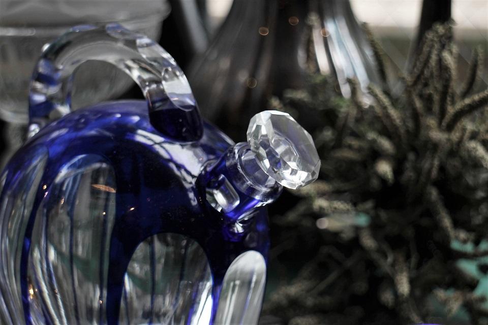 サンルイ ブルーのリキュールグラス&カラフェセット 4969