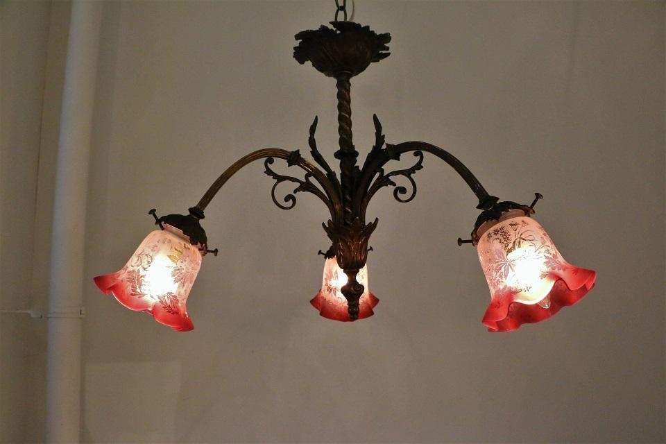フランス 3灯式ブロンズシャンデリア 0738