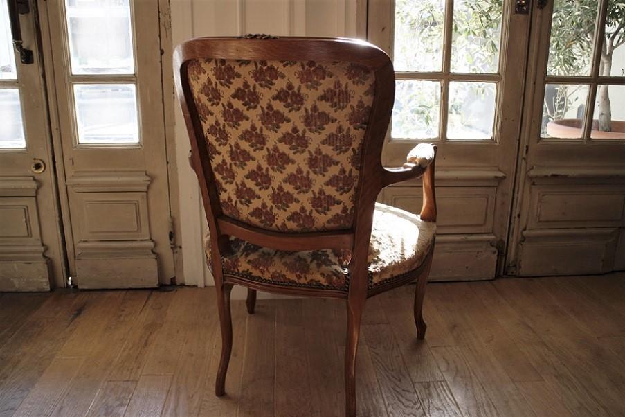 ルイ15世様式 ローズ柄モケットが魅力のオークアームチェア 4503