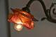 フランス アンバーとピンクの薔薇のシェードが付いたウォールブラケットランプ 3091_4986
