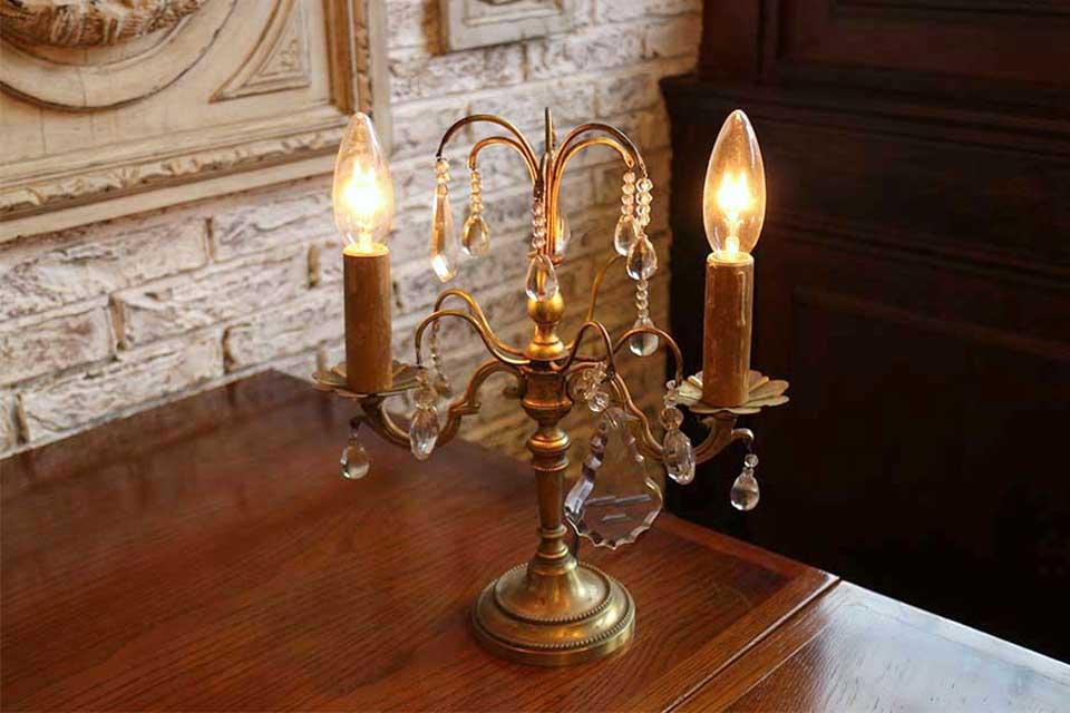フランス 燭台型 2灯式 シャンデリアドロップランプスタンド 333_02