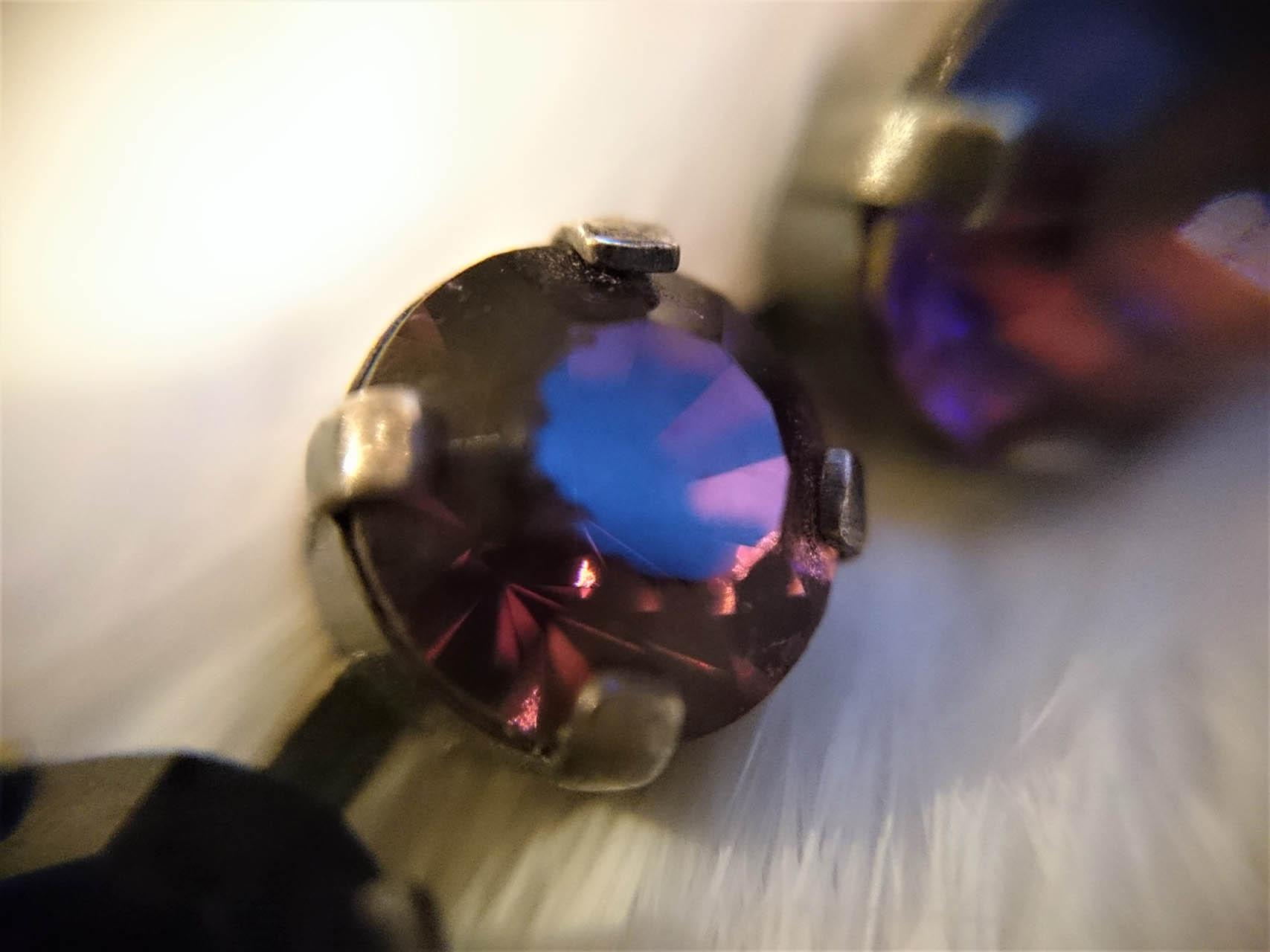 シルバー パープルガラス ブレスレット フランス 2177