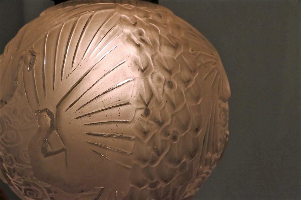 ミューラー 鳥の柄のアールデコランプ 4052