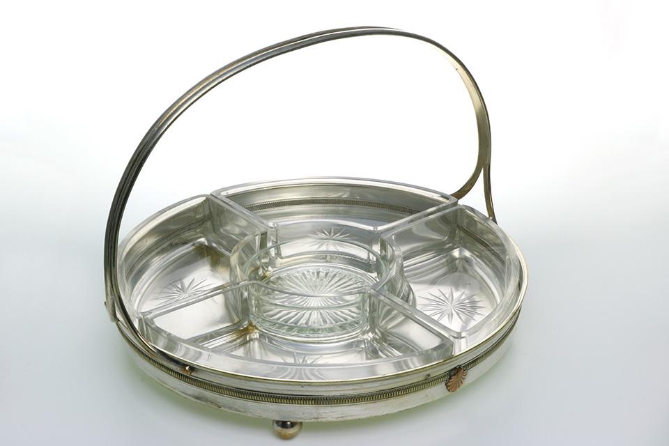 《 SALE 》 ガラス&シルバープレーテッドトレイ 2192