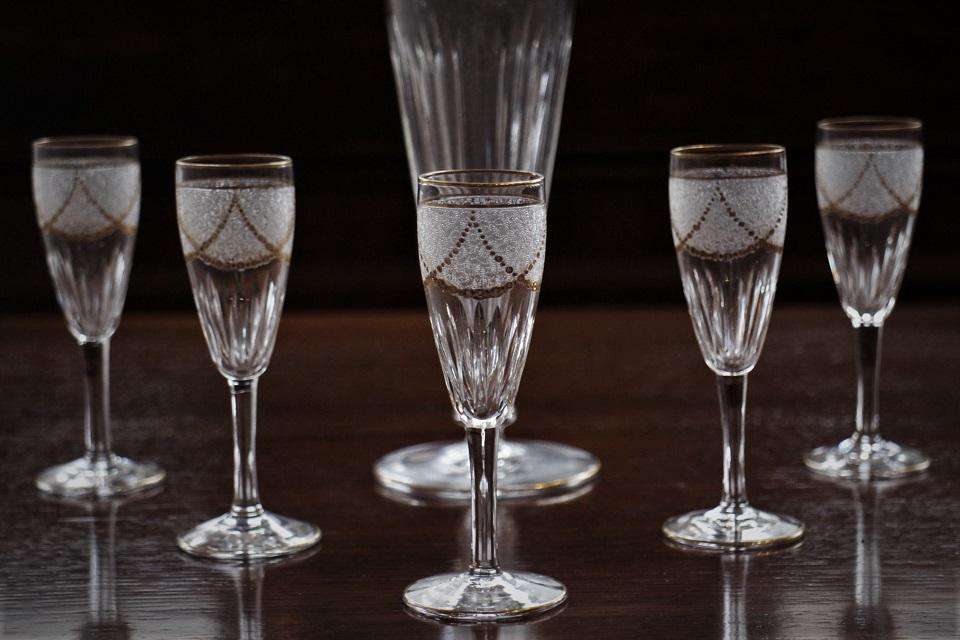 サンルイ 金彩 リキュールグラス&カラフェセット 3409