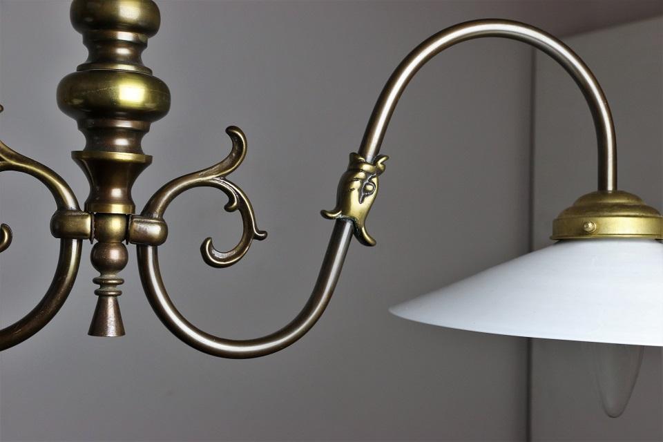 フランス 2灯式の真鍮ハンギングランプ 4037
