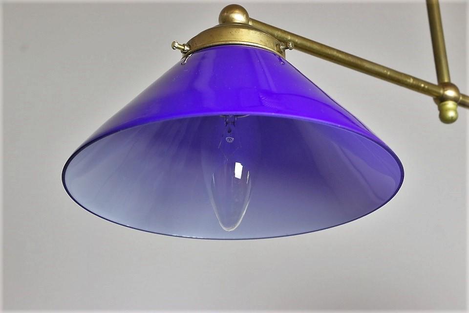 フランス 2灯式の真鍮ハンギングランプ 4038