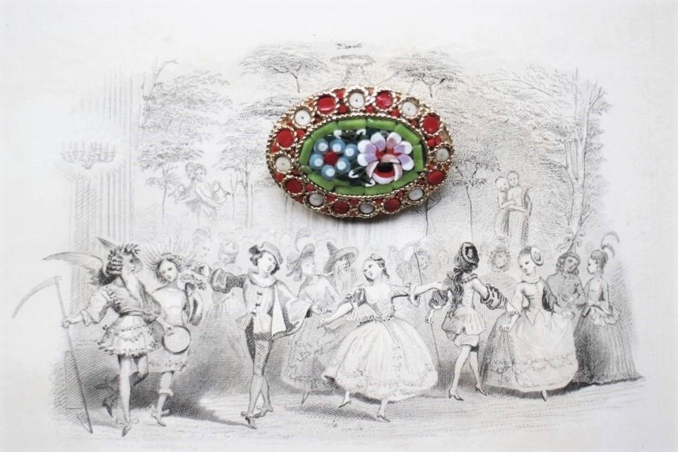 イタリア製 朱色と白が交互に嵌められた中に緑と薄紫の花が嵌め込まれたマイクロモザイクブローチ 509508