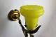 フランス ガス灯ブラケットの真鍮ウォールランプと黄色いシェード 5319_5325