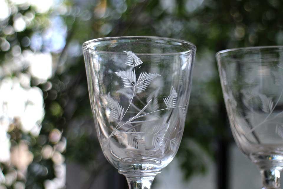 フレンチ シダ模様のワイングラス 2244-1/2