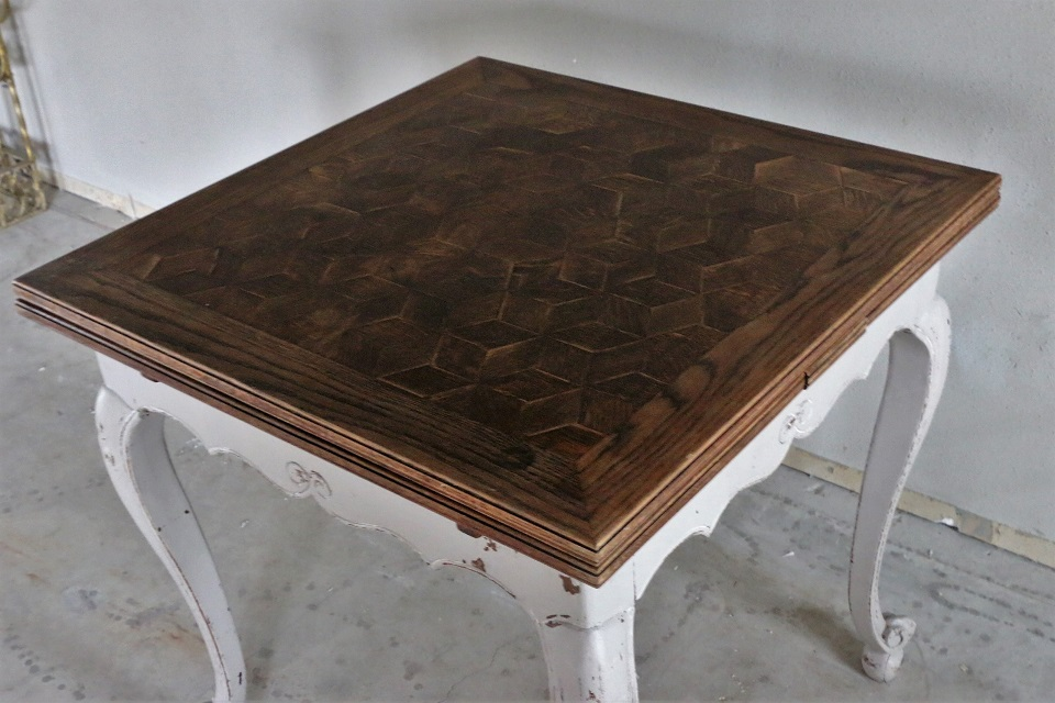 ルイ15世様式 ペイント フレンチドローリーフテーブル 4197