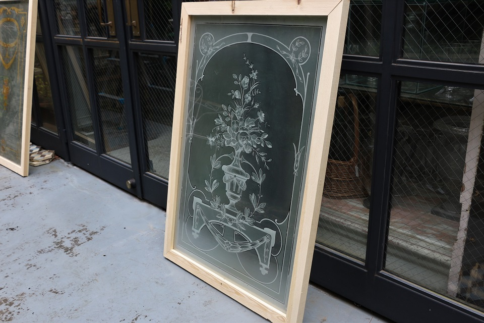 《SALE》 フランス 薔薇の花のエッチングガラスパネル 4064