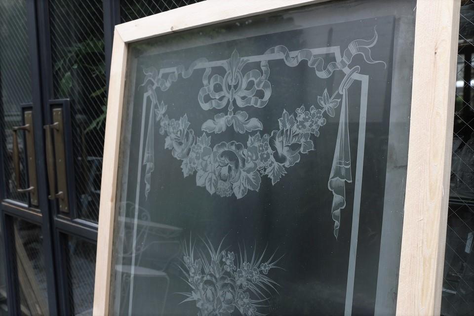フランス エンジェル柄のエッチングガラスパネル 4066