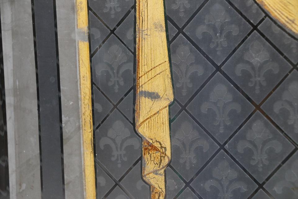 フランス ハンドペイントされたエッチングガラスパネル 4065