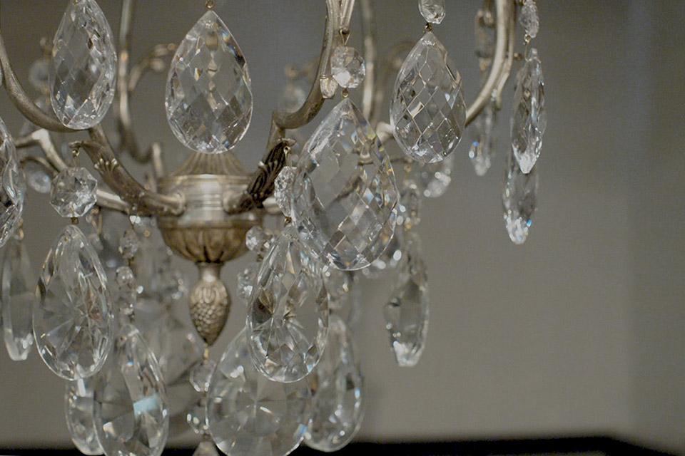 アンティーク シルバーカラー アイアンフレンチシャンデリア1 灯 1334