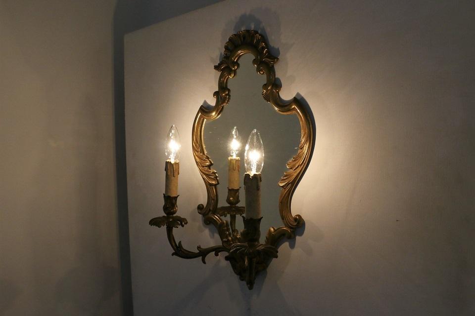 フランス ロココなミラー付の2灯式ウォールブラケットランプ 1371