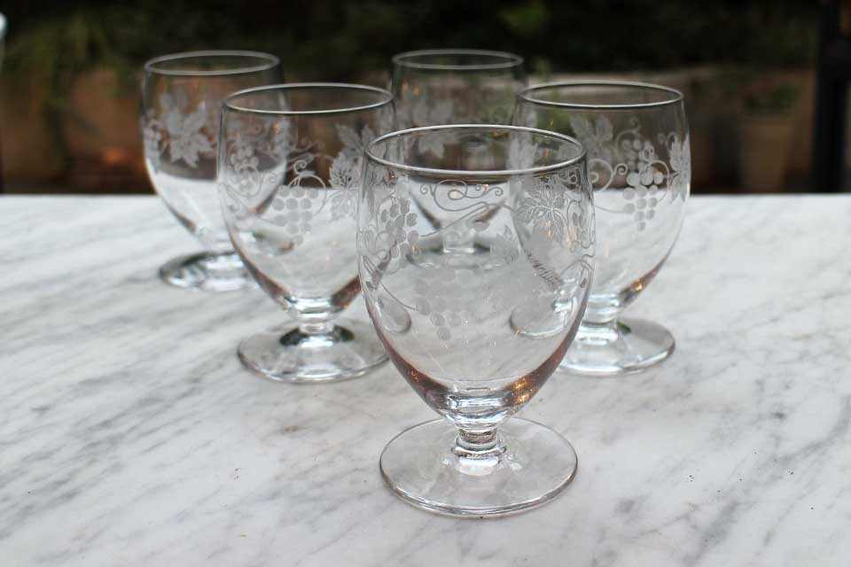 サンルイ ブドウ柄のエッチング ワイングラス 2049