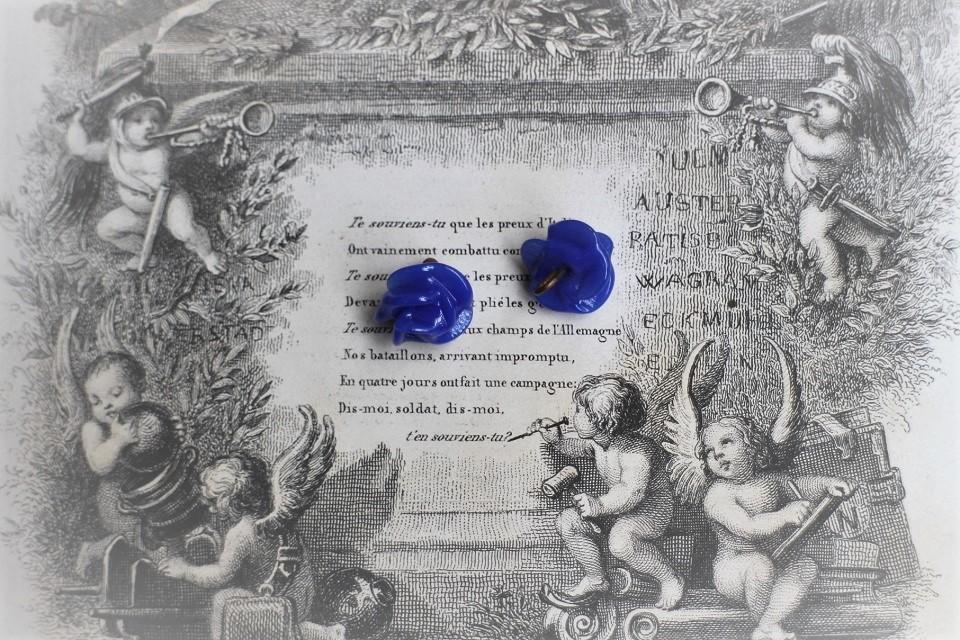 フランス アンティーク 薔薇のガラスボタン Φ12mm 3167_01_09