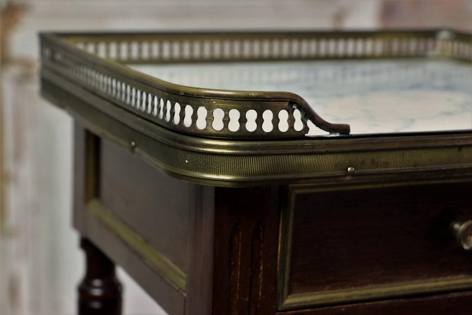 マホガニー マーブルトップ ベッドサイドテーブル ペア 4726