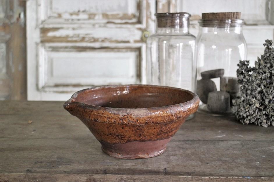 フランス19世紀 南仏の陶器 ポタリーボウル 4154