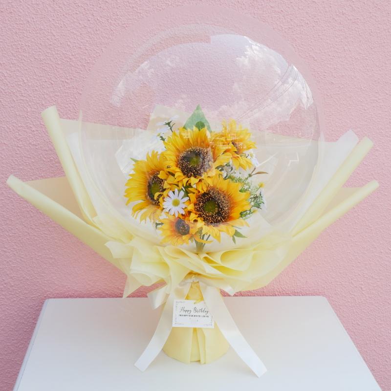 【フラワーインバルーン】  Lサイズ ひまわり 誕生日 開店祝い バルーン電報 黄色