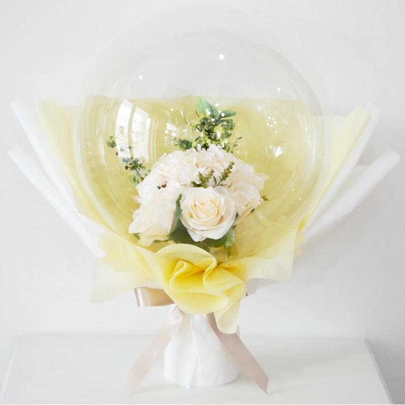 【フラワーインバルーン】 Lサイズ Wedding バルーン電報 White rose×Green