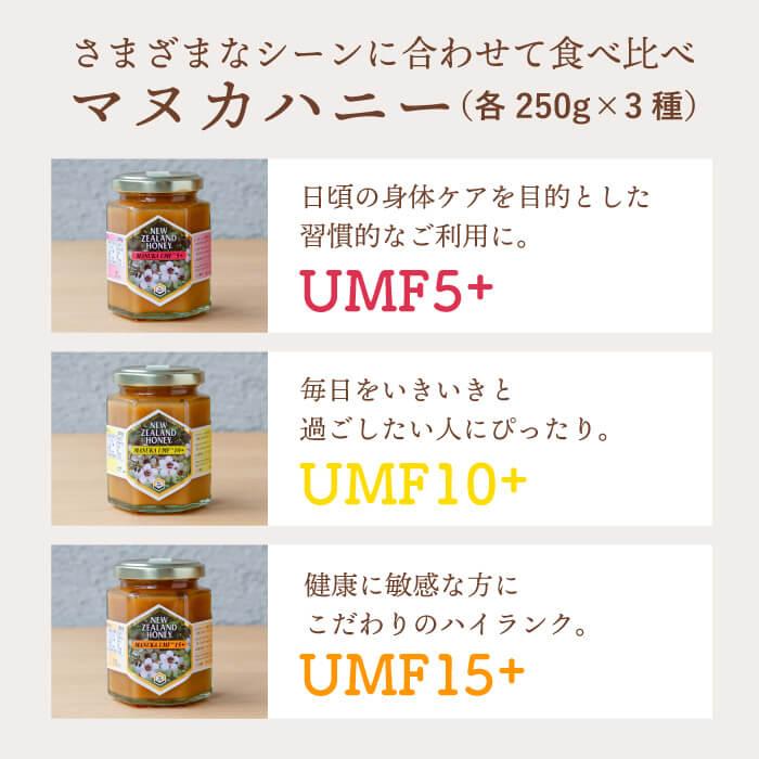 ギフトセット マヌカハニーミドルランク UMF5+ / UMF10+ / UMF15+ (各250g)