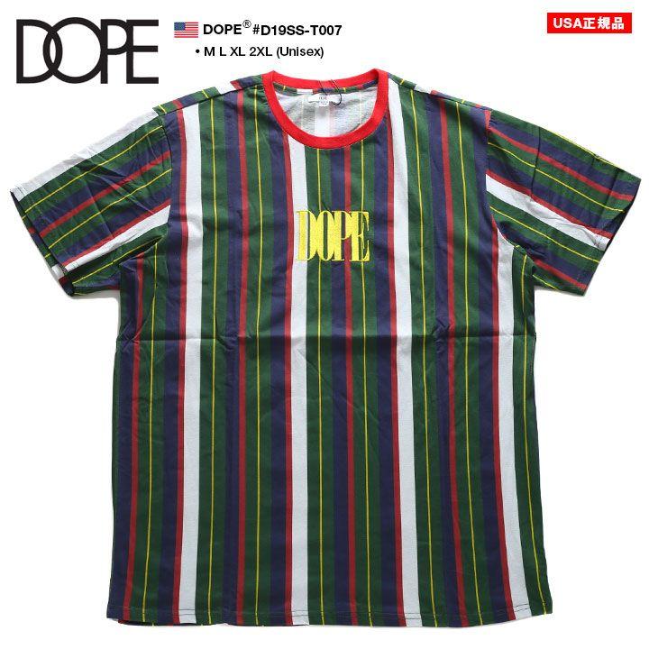 ドープ DOPE Tシャツ 半袖 ストライプ メンズ レディース 男女兼用 白 L XL 2L LL 2XL 3L XXL 大きいサイズ b系 ヒップホップ ストリート系 ファッション ブランド 服 かっこいい おしゃれ ストライプ柄 刺繍 切替 ゆったり ビッグシルエット オーバーサイズ D19SS-T007