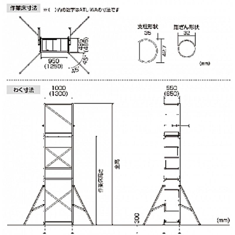 【はしご・脚立・足場台- 脚立】ピカ パイプ製足場 ハッスルタワー ATL-3B <大型・重量商品>