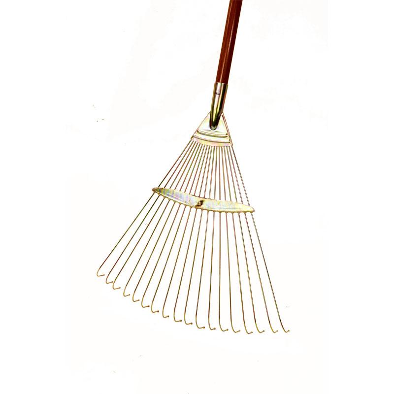 【清掃作業用品-レーキ・熊手(くまで)・ホーキ】玉付ガーデンレーキ 木柄付