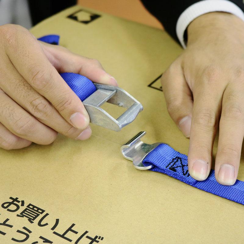 【運搬作業用品-荷締めベルト】オールセーフ カムバックル式ラウンドベルト フラットフック 8M <大型・重量商品>