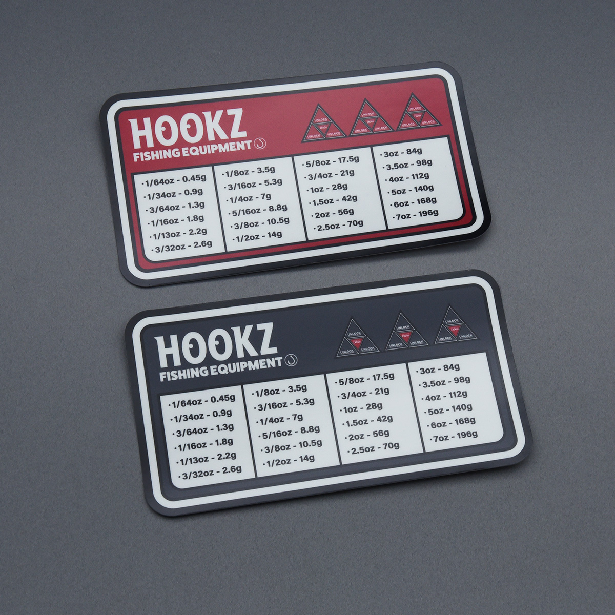 HOOKZ オンスとグラム(ozとg)早見表ステッカーver.2