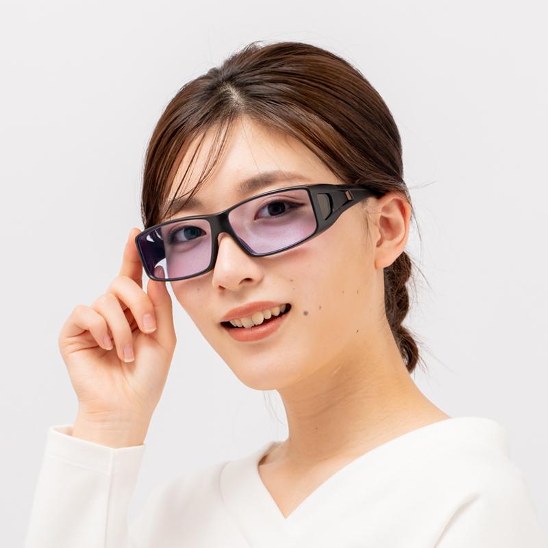 昼夜専用 防護カバーサングラス ネオコントラスト (屋外で色が濃くなる調光レンズ) 花粉 感染症 ウィルス対策に! オーバーグラス UVカット99.9%
